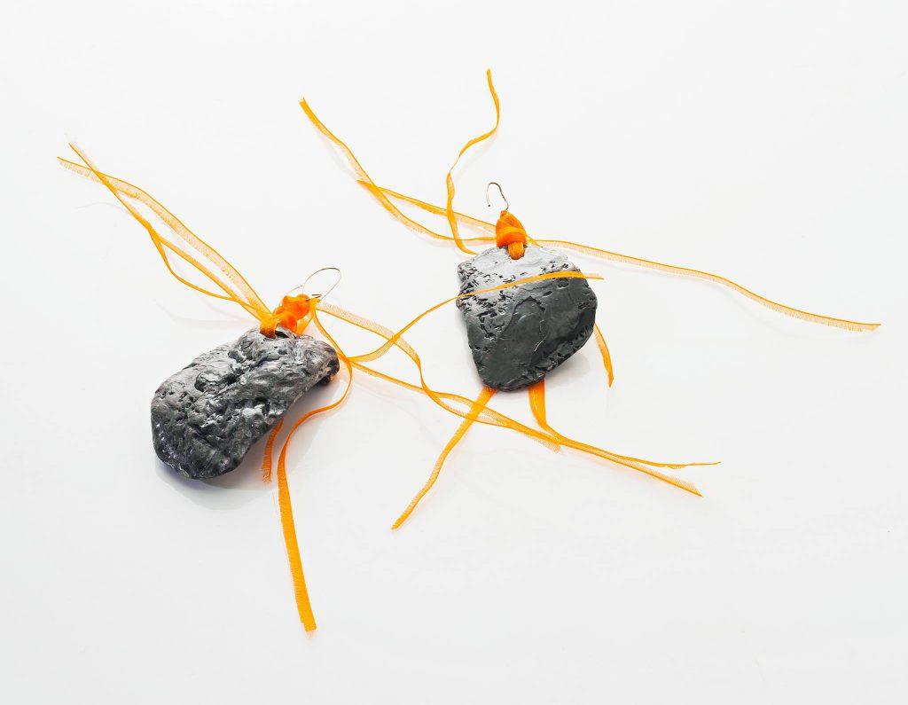 oorbellen schelp zilver oranje